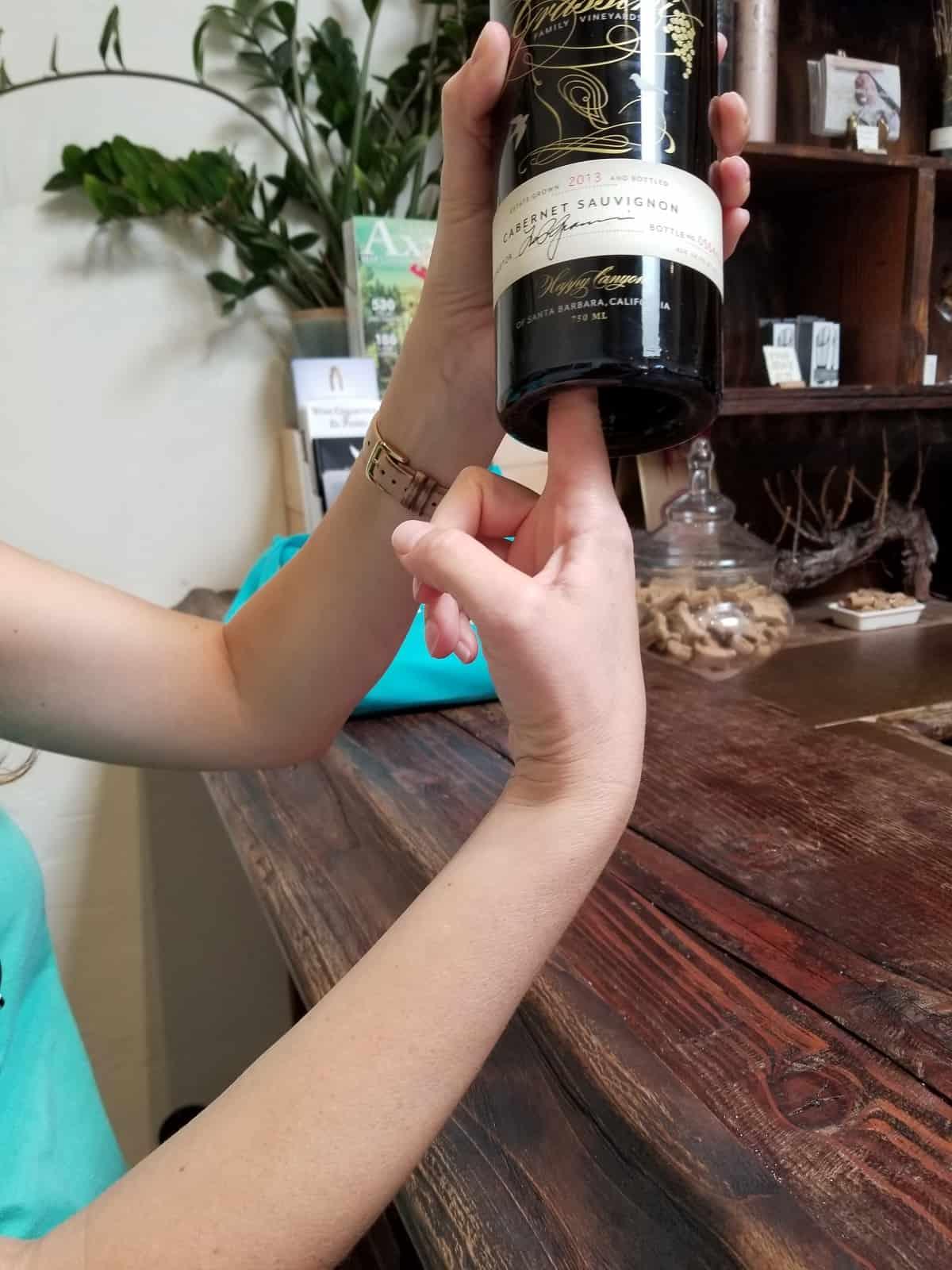 Dented bottom of wine bottle