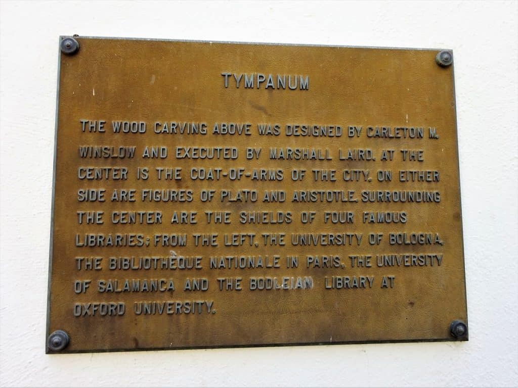 Tympanum plaque at the Santa Barbara Library