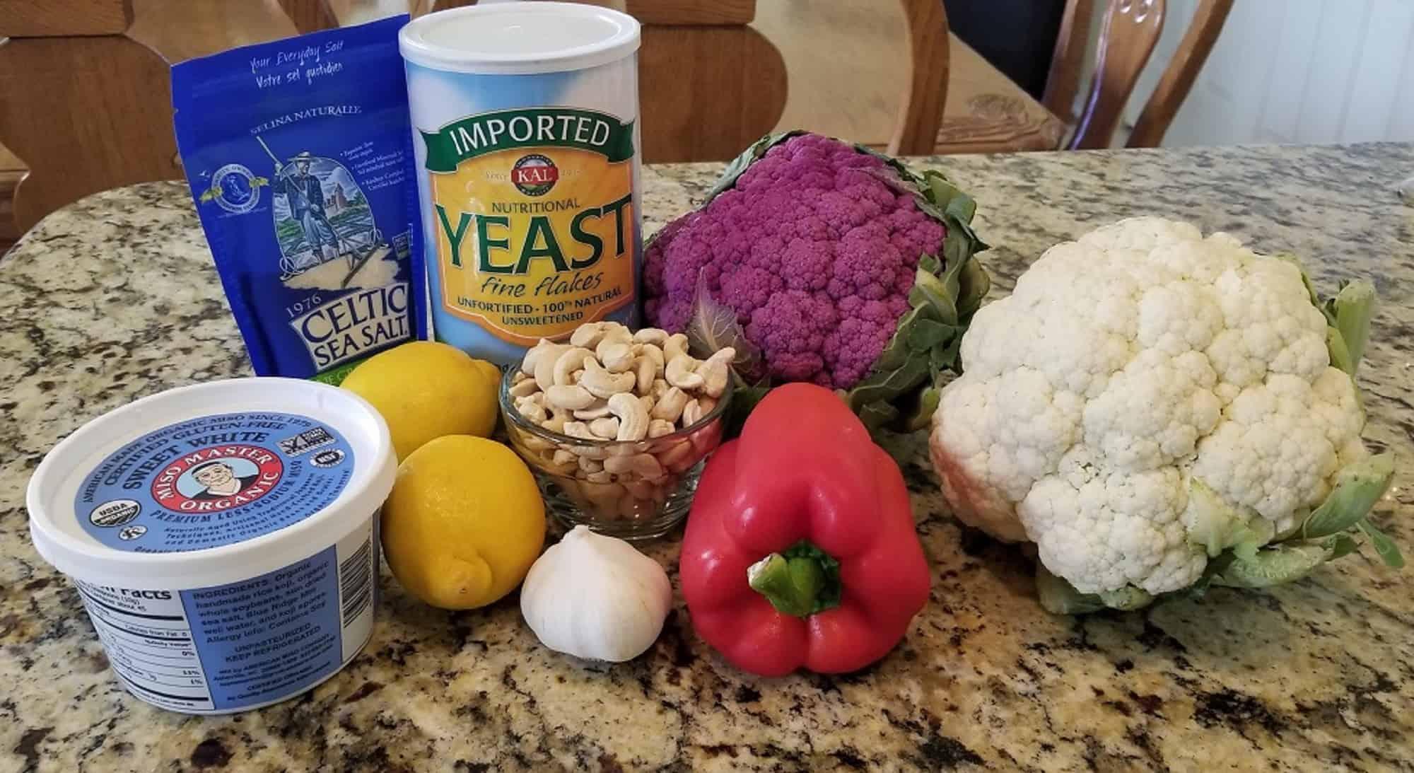 Ingredients cheesy cauliflower kernels