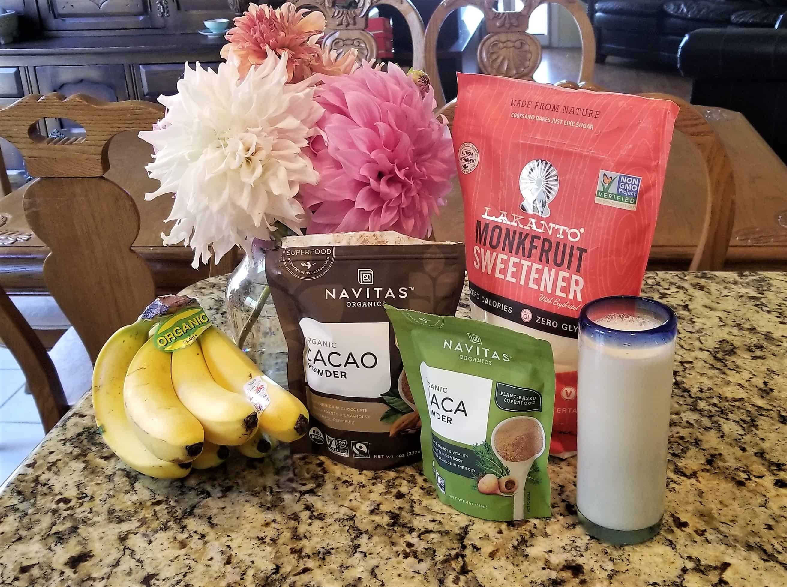 ingredients for Low fat low carb chocolate banana mousse smoothie
