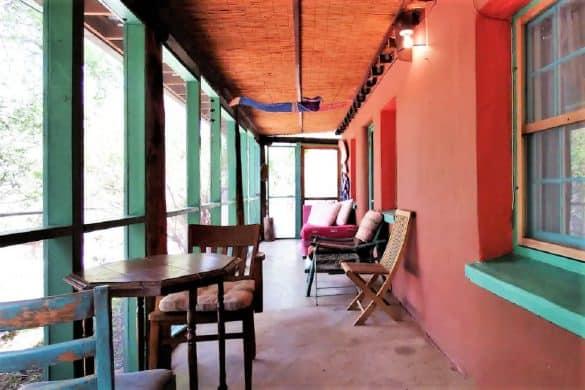 Adobe Eco-Cottage enclosed porch