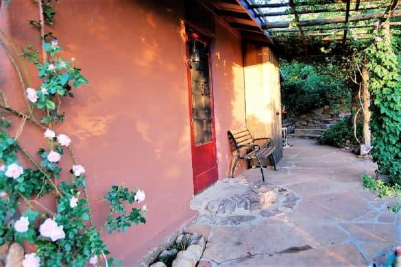 Adobe Eco-Cottage back porch
