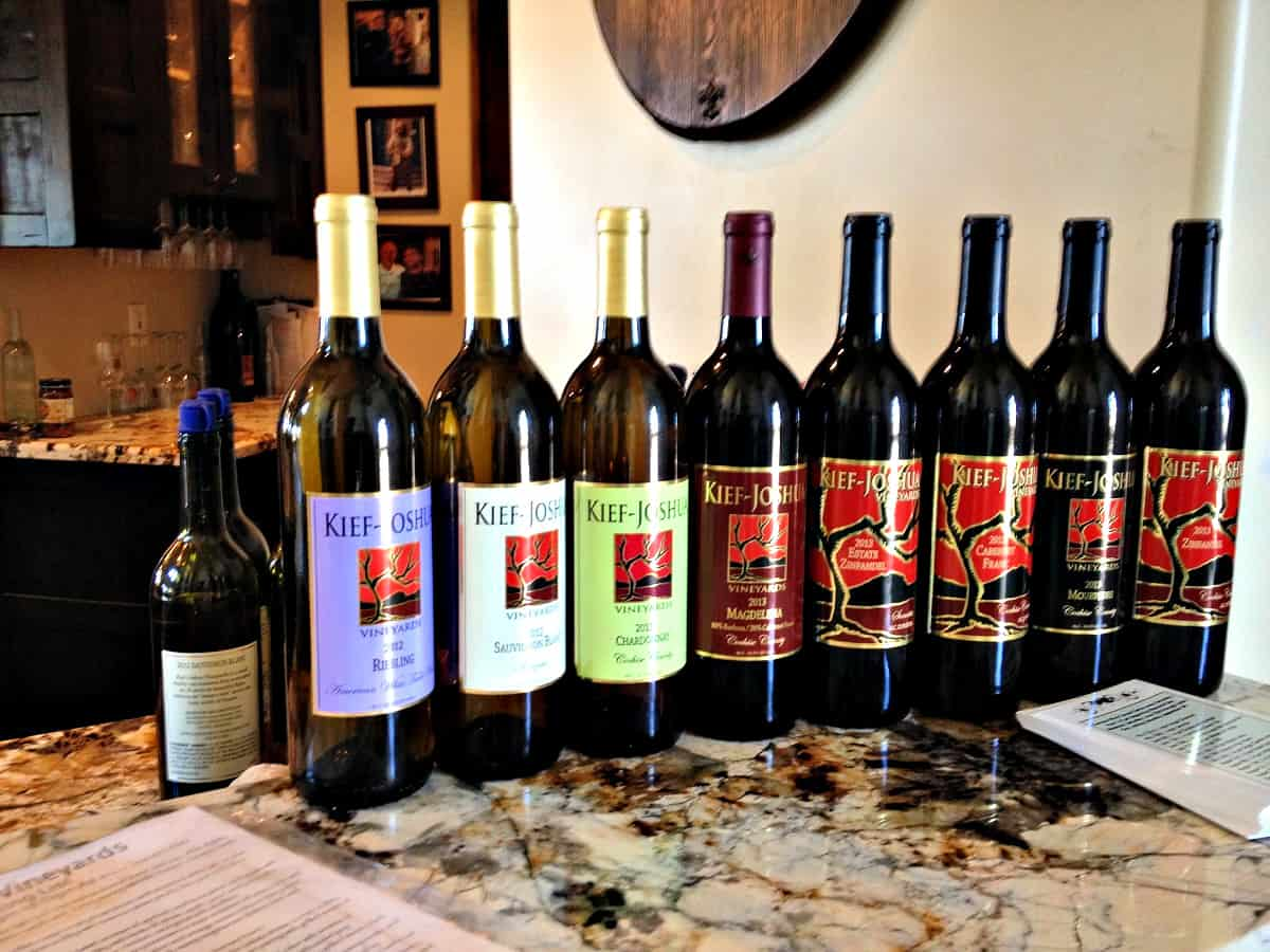 Kief-Joshua Vineyards Wine Bottles