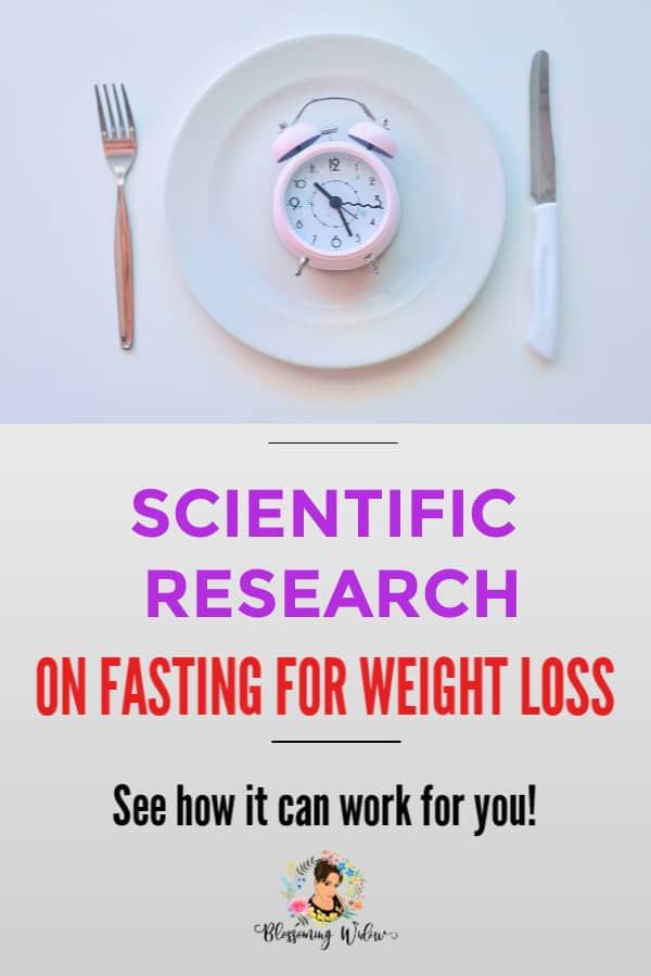 Plate, fork, knife with a clock on the middle of a plate with text scientific research on fasting for weight loss