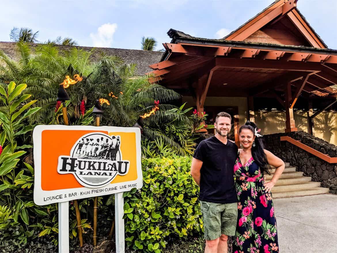 Couple in front of Hukilau Restaurant in Kauai