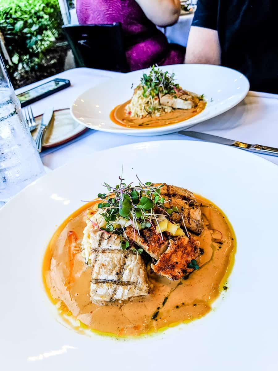 Hukilau Lanai restaurant fish trio dish