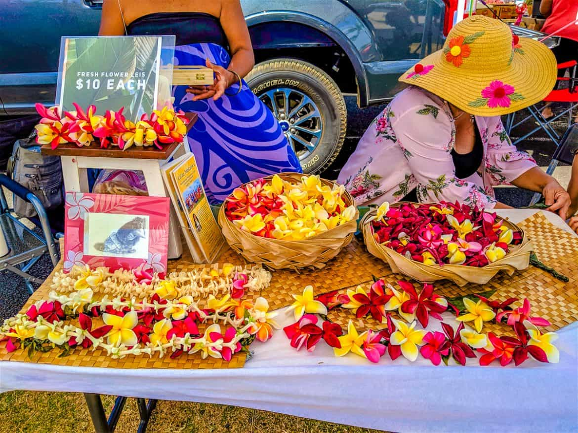 Lei flowers plumerias at Coconut market farmers market