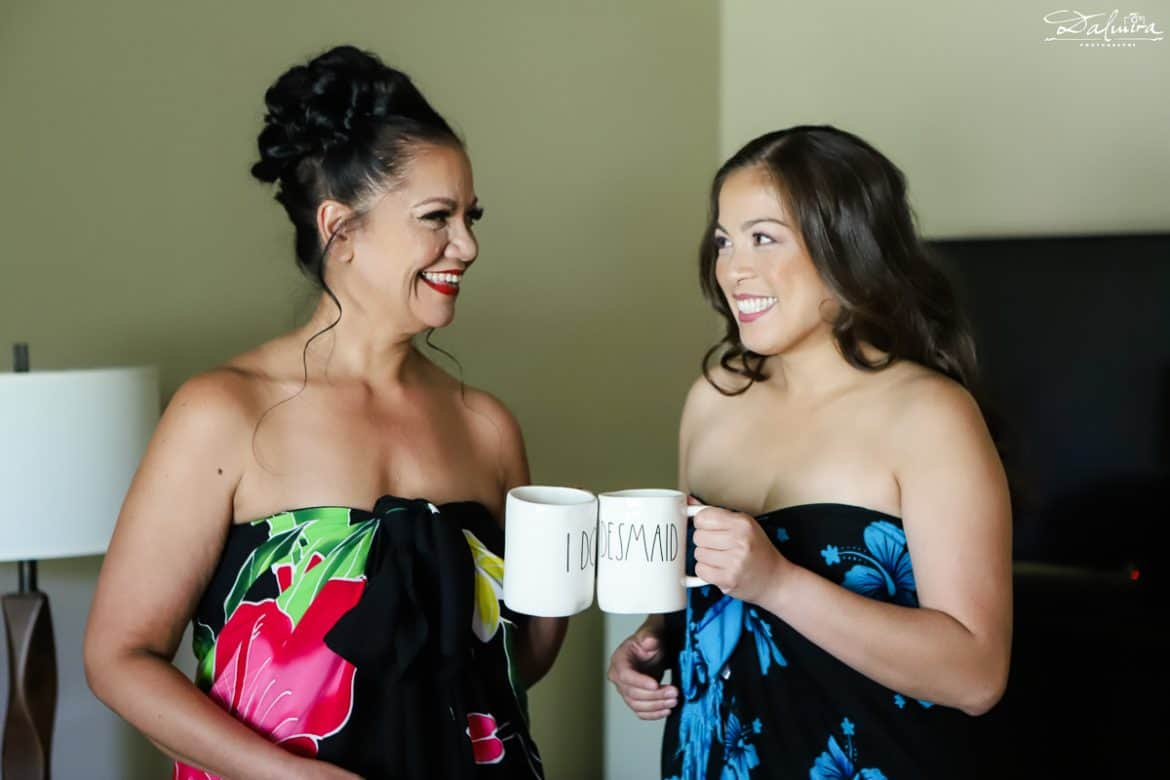 Bride & maid-of-honor in sarongs