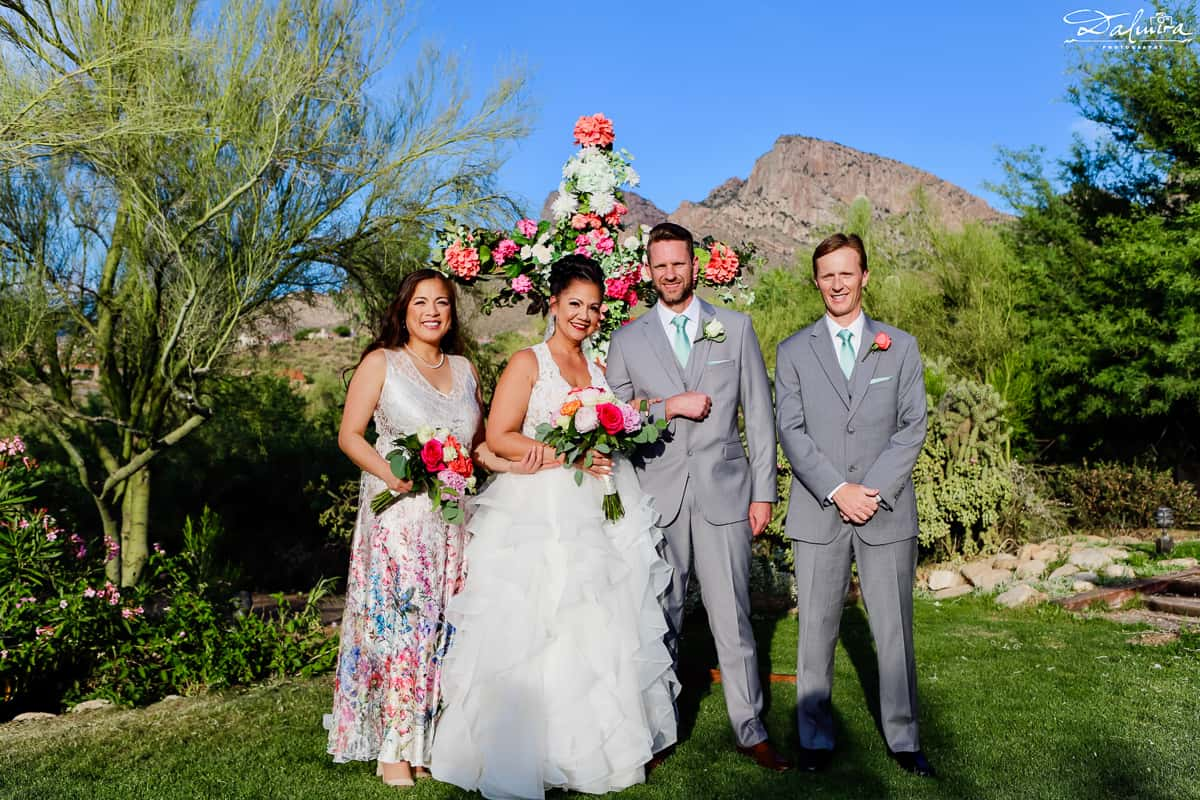 Wedding party with Bride, Groom, Maid Of Honor and Best Man