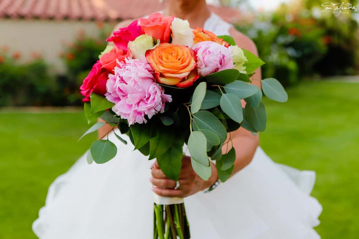Summer wedding flowers bridal bouquets with roses and peonies
