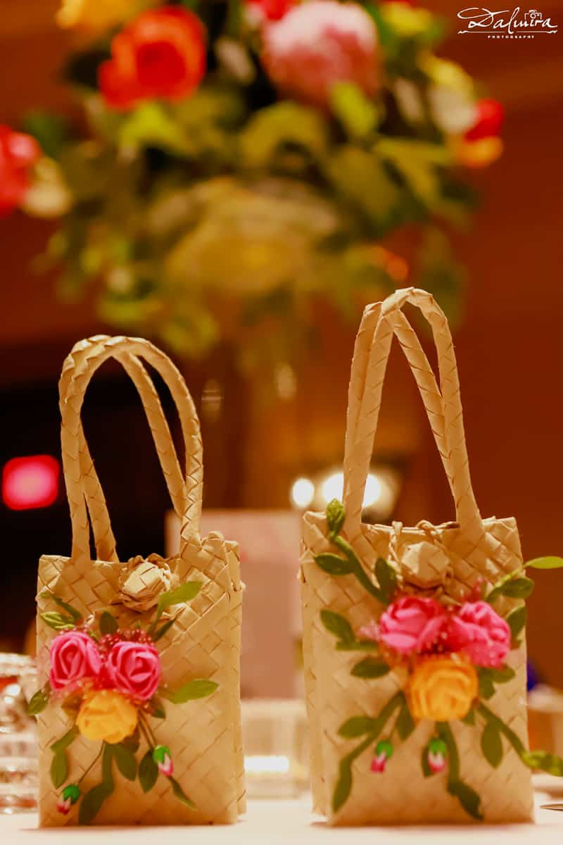 Palm leaf bag with wedding favor