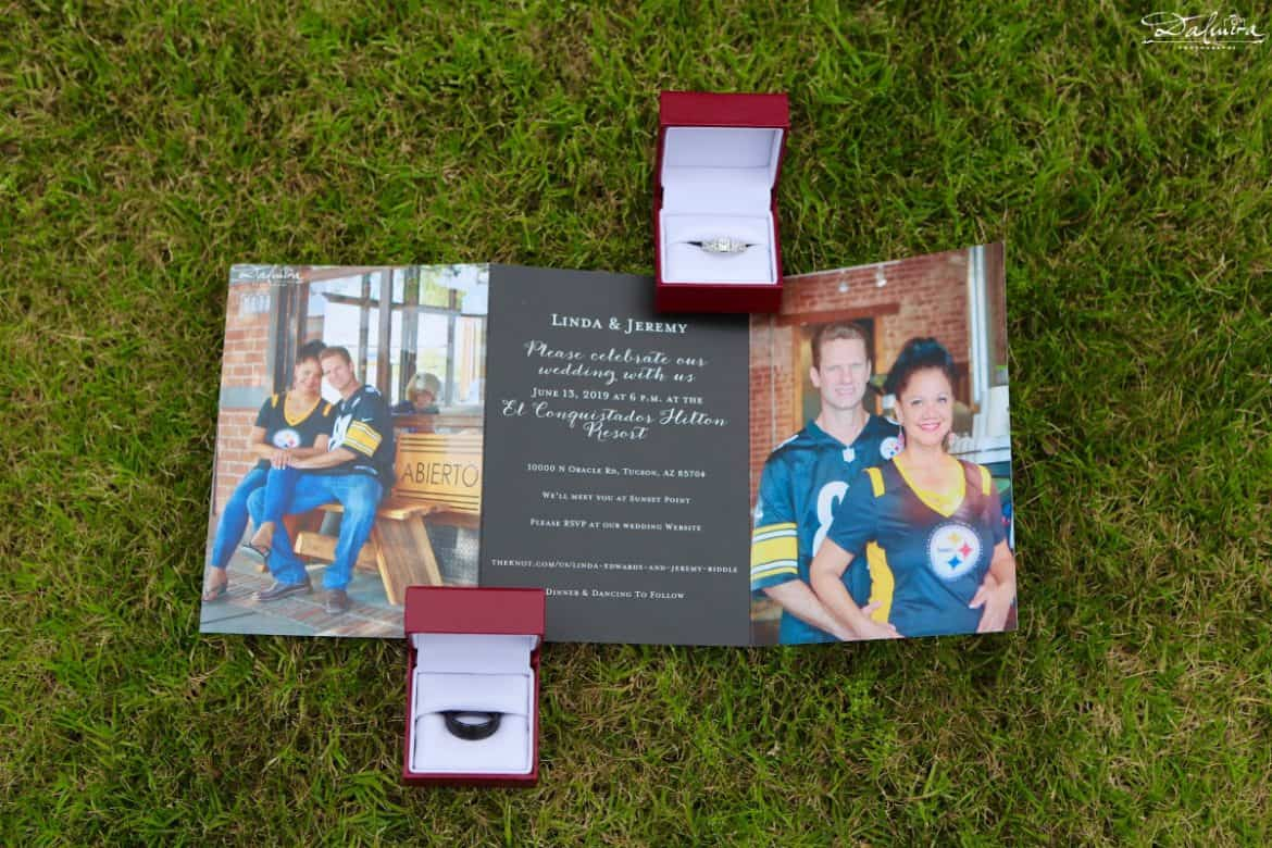 Trifold picture wedding invitation with rings