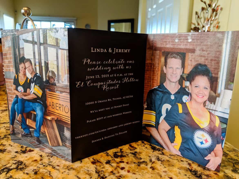 Trifold picture wedding invitation