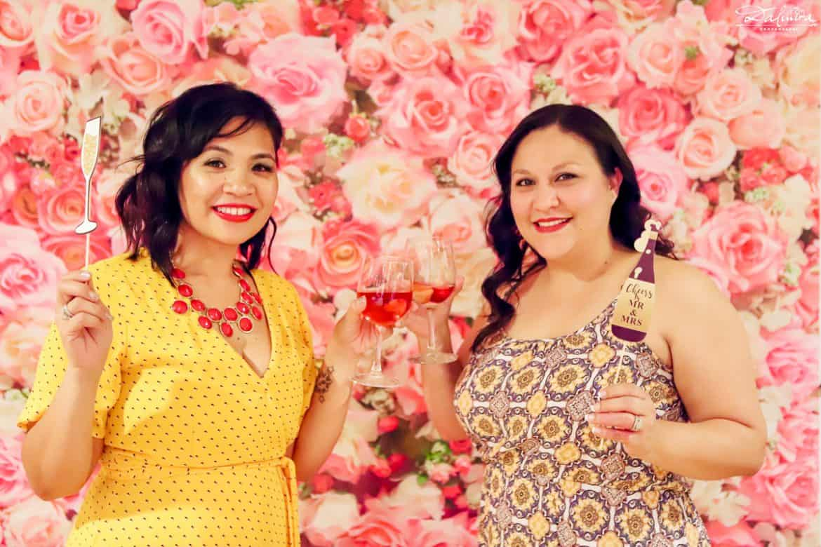 Selfie station with floral backdrop