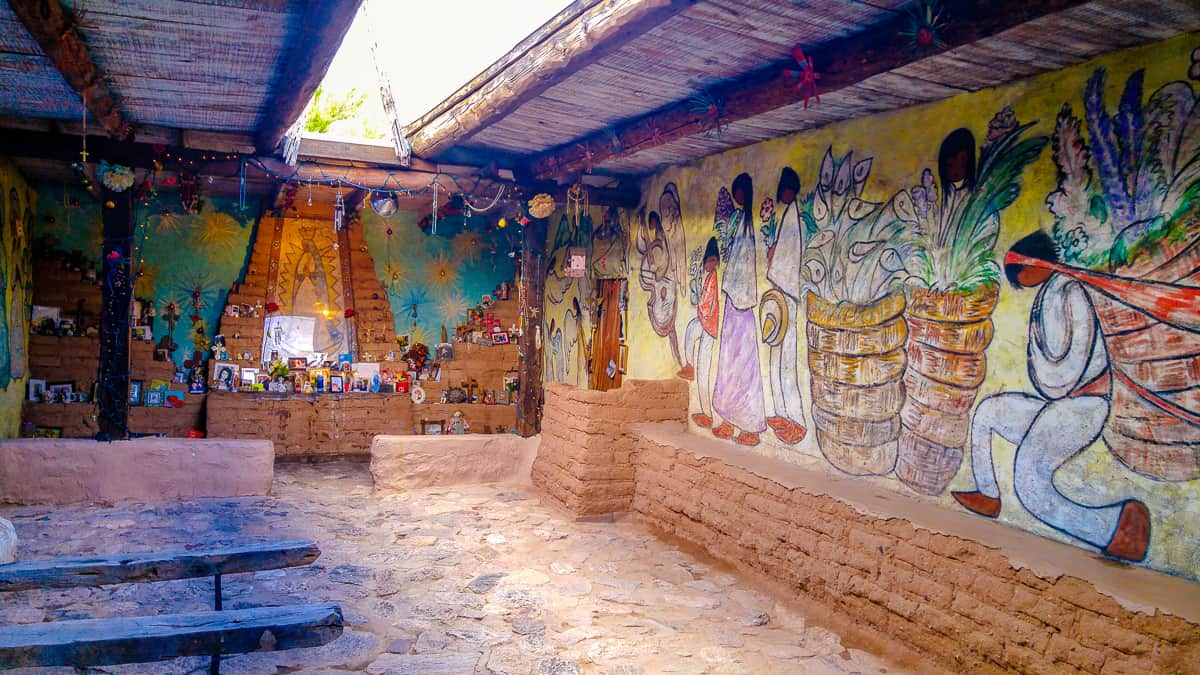 Degrazia Chapel main room mural and memorial altar