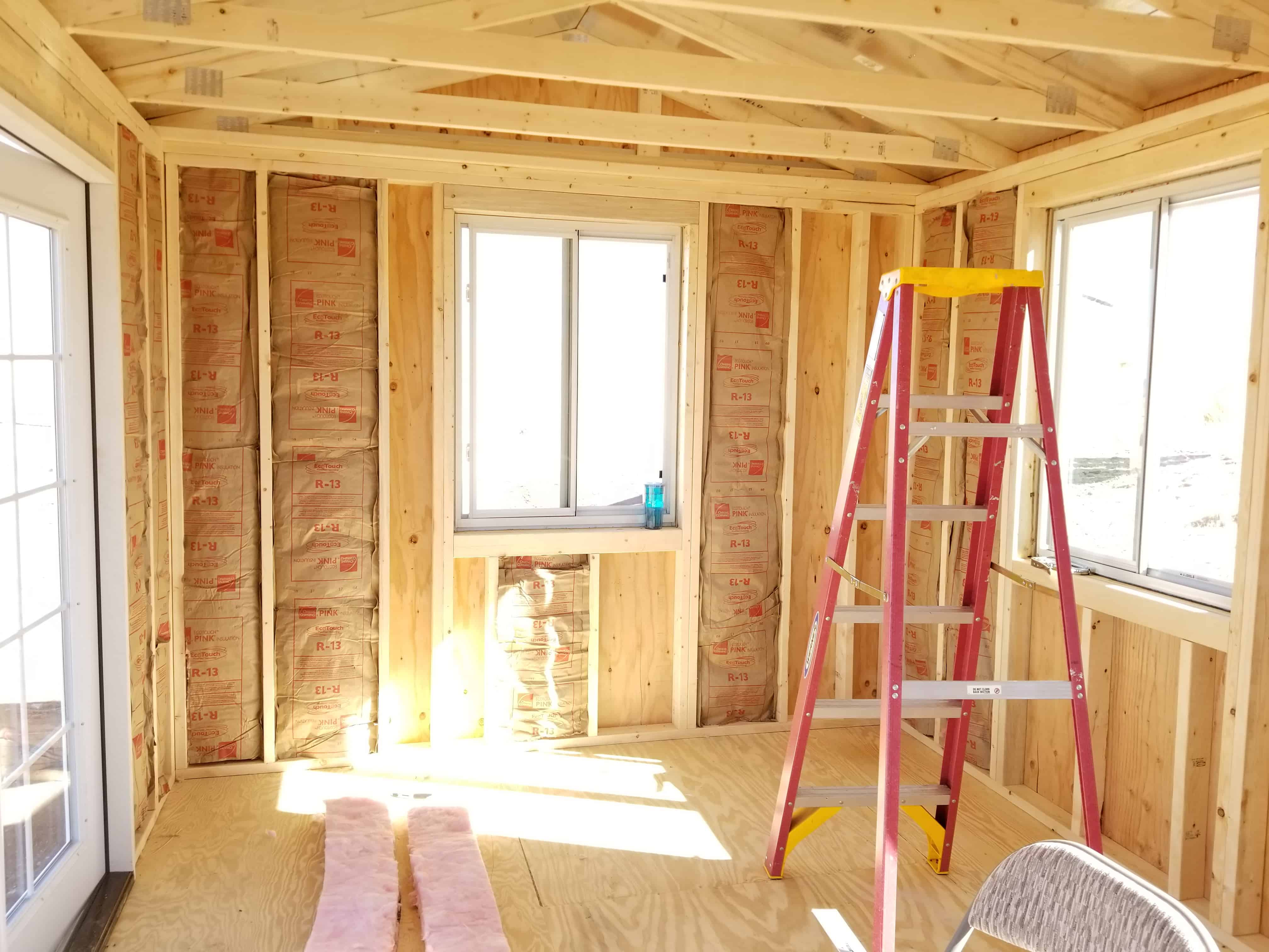 Insulation installed in she-shed