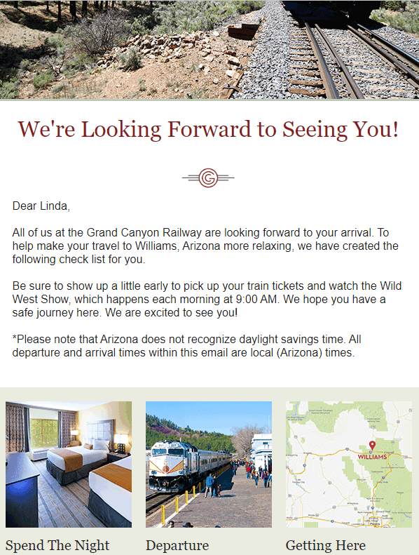 Email confirmation from Grand Canyon Railway