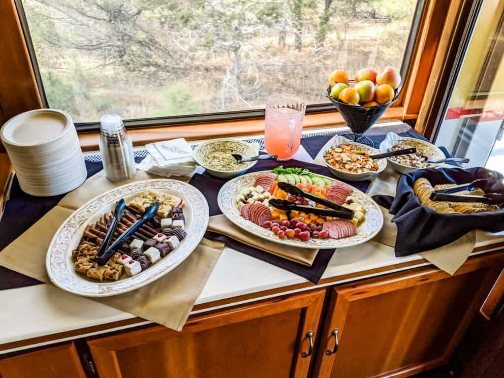 Afternoon snacks in the Luxury Parlor on the train to the Grand Canyon