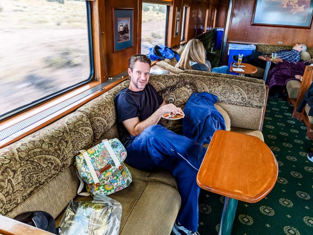 Eating snacks in the Luxury Parlor on the train to the Grand Canyon