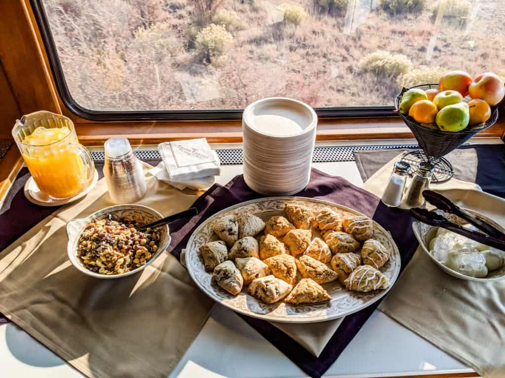 Morning snacks in the Luxury Parlor car