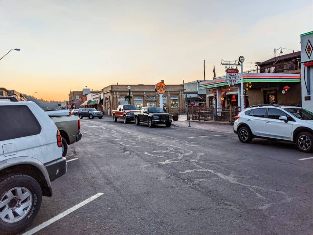 Street view with shops of Williams, Arizona