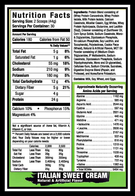 LRW Italian Sweet Cream Meal Replacement Nutrition Information