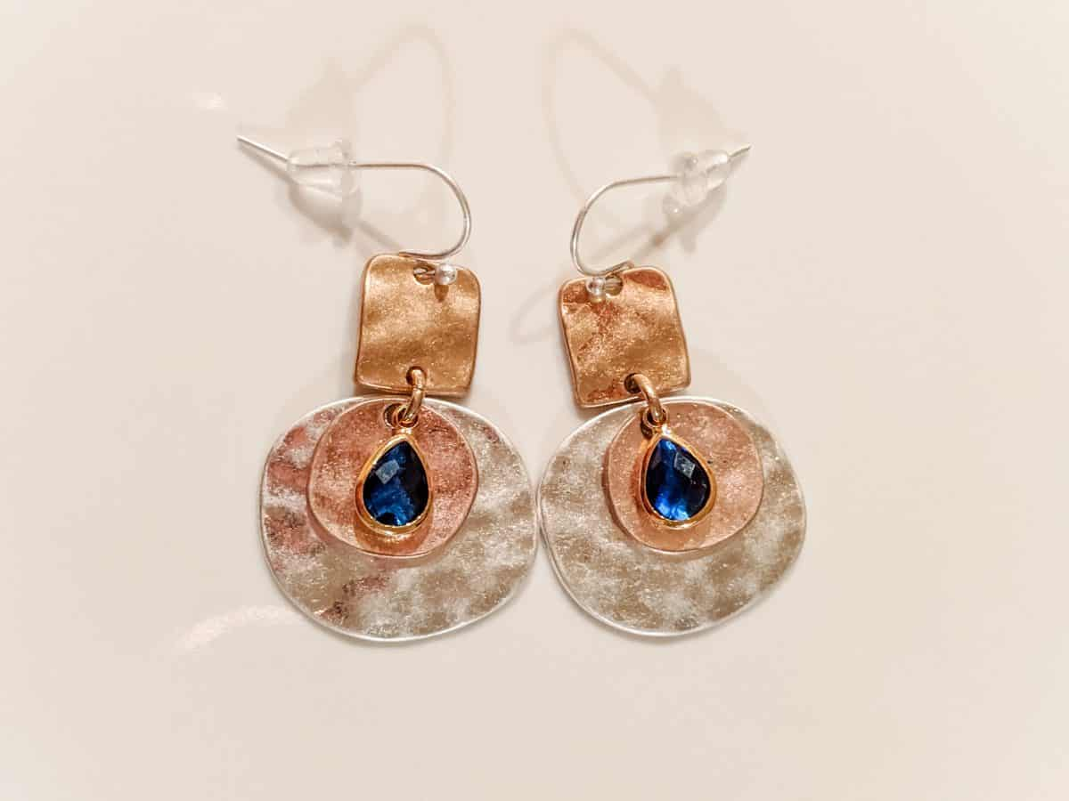 Mixed metal hammered disk with Sapphire colored gem earrings