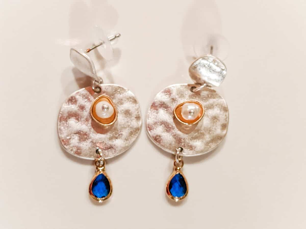 Hammered disk earrings with sapphire colored gems with pearl drop earrings