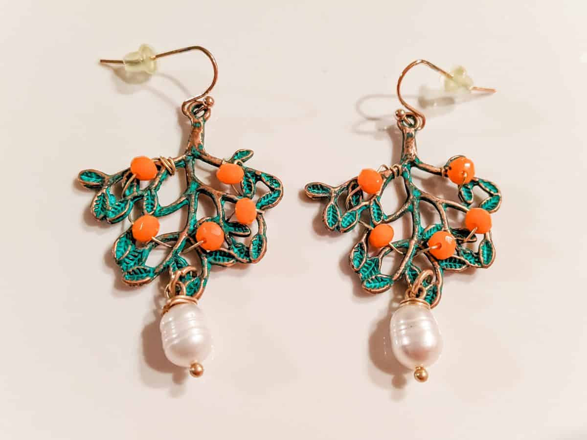 Orange Trees & Pearl earrings